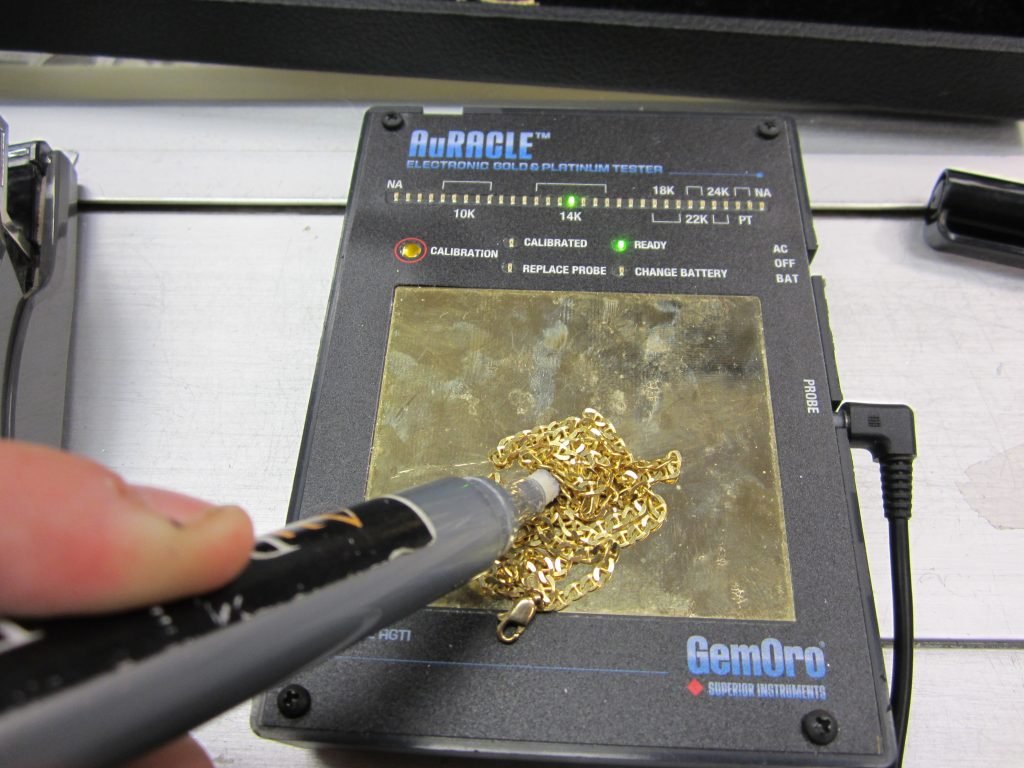 Gold testing at the Frederick Coin Exchange